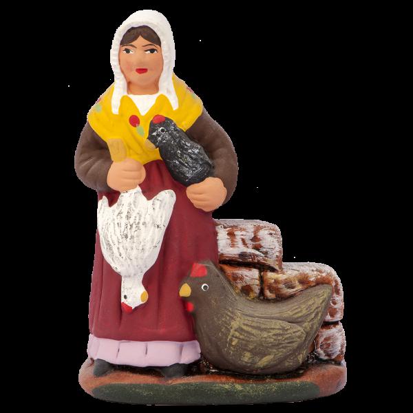 Femme aux poules 7 cm