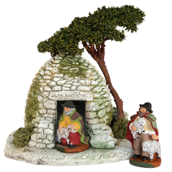 Stone shepherd's hut with tree